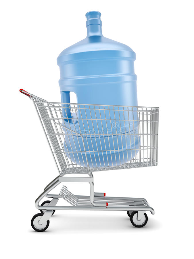 Water bottle in shopping cart vector illustration
