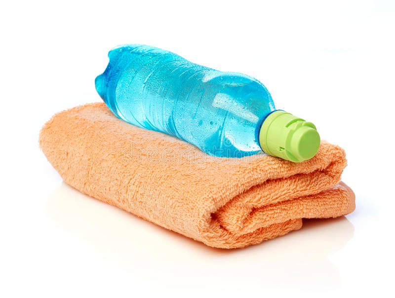 Water bottle and towel stock photos