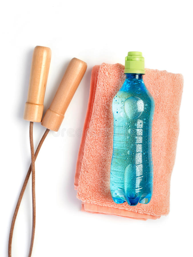Water bottle, towel and jump rope stock images