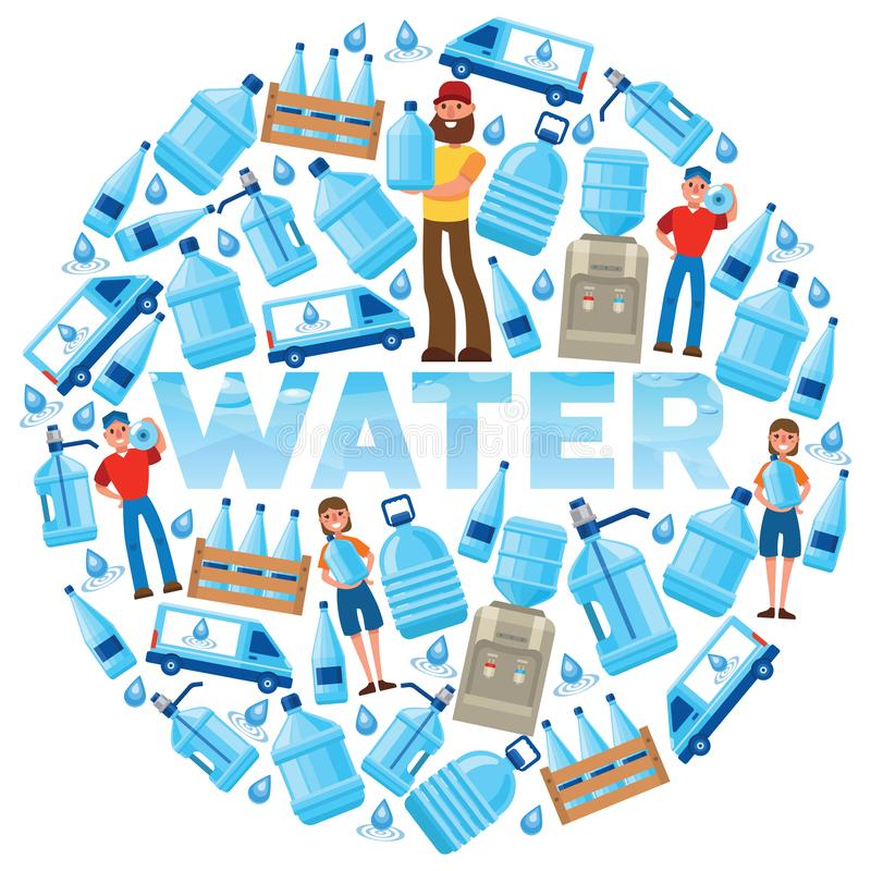 Water bottle vector man woman character delivering water drink liquid aqua bottled in plastic container backdrop stock illustration
