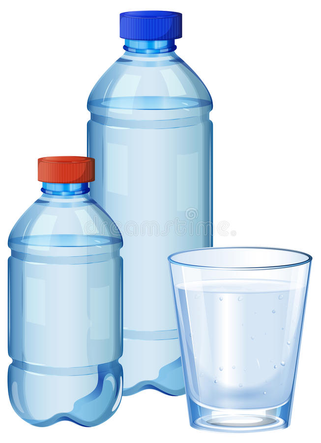 Water bottles and glass with drinking water royalty free illustration