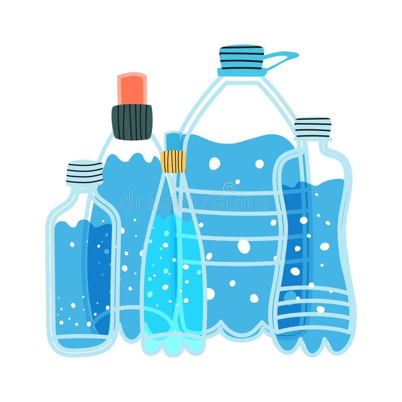Free Water Bottles Of Various Shapes And Volumes. Vector Illustration Of Drinking Water Royalty Free Stock Photos - 195920358