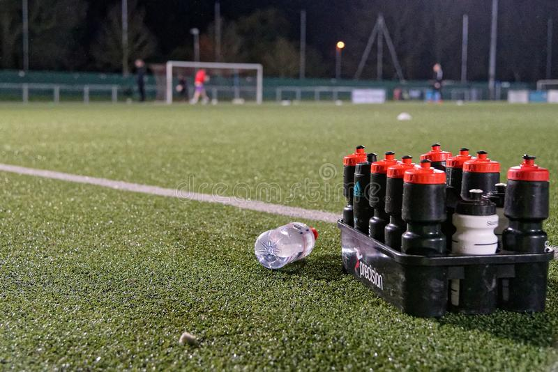 Water Bottles on the Pitch royalty free stock photos