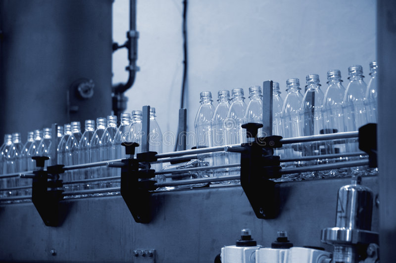 Water bottling line royalty free stock photography