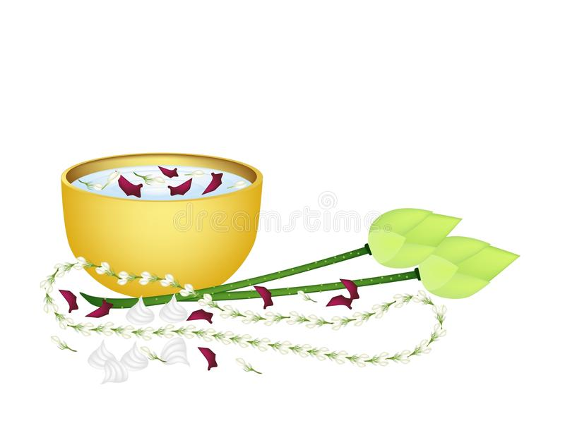 Water Bowl and Flowers for Songkran Festival royalty free illustration