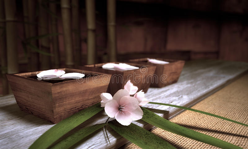 Water bowls. With Bamboo And Cherry Blossoms royalty free illustration