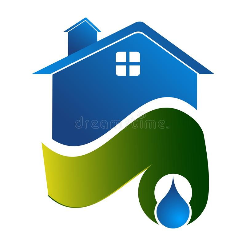 Water bronhuisconceptontwerp Het elementenvector van het symbool grafische malplaatje stock illustratie