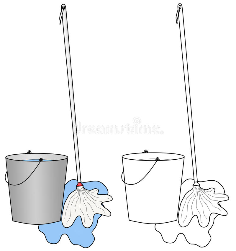 Download Water Bucket And A Broom Or Mop Royalty Free Stock Photos - Image: 23937148
