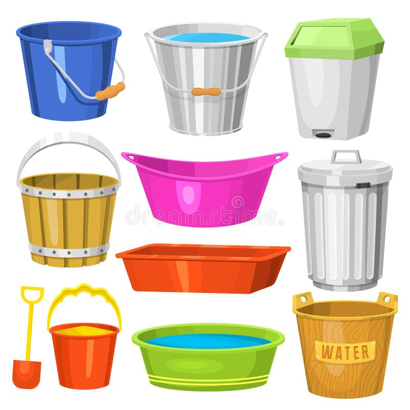 Water buckets handle container equipment household clean plastic empty domestic tool vector illustration royalty free illustration