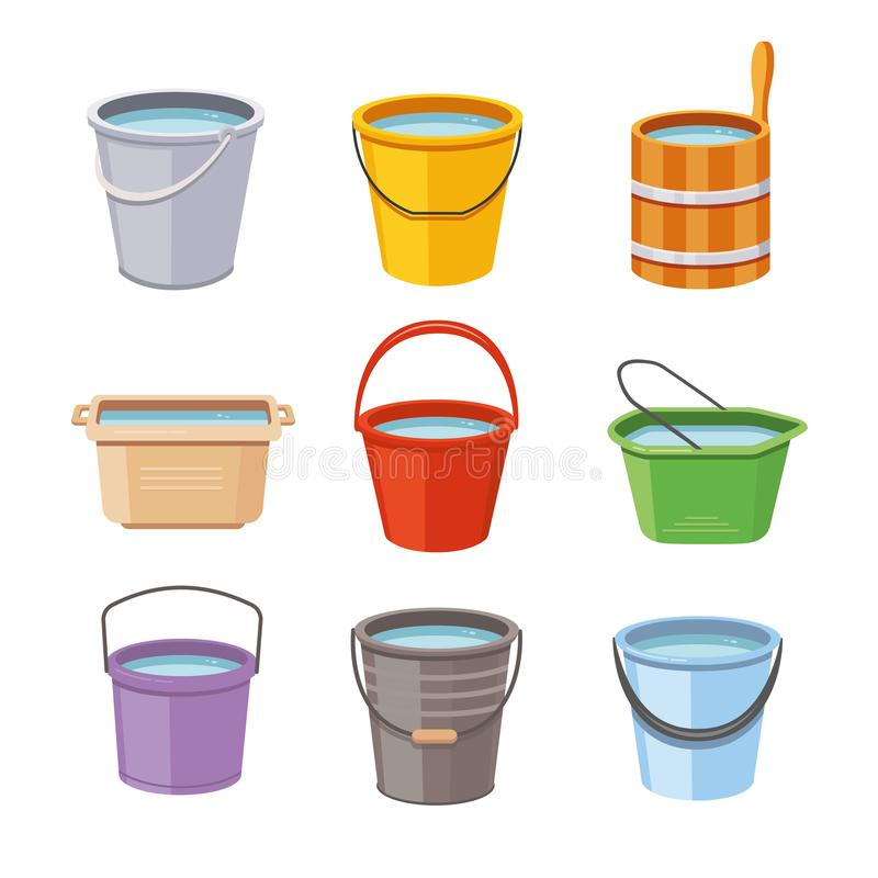 Water buckets set. Metal pail, empty and full plastic garden bucket isolated vector illustration icons royalty free illustration