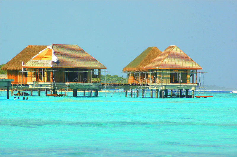 Water Bungalow. A Water Bungalow under construction. Four Seasons Resort located in North Male' Atoll, Republic of Maldives stock photos