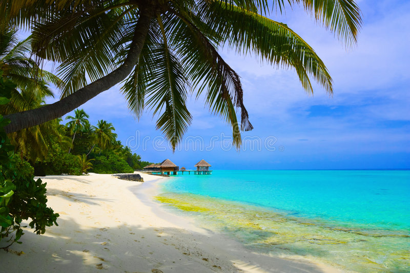 Water bungalows on beach. Of tropical island - vacations background stock photos