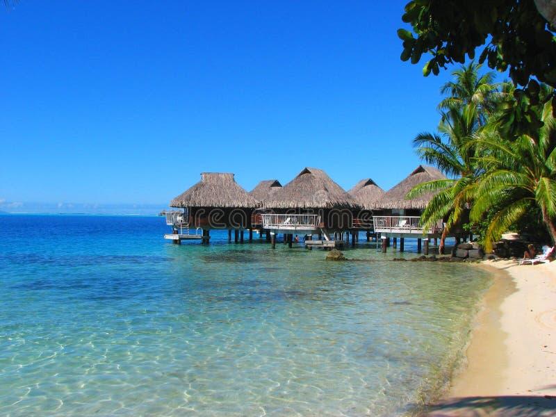 Water Bungalows in Bora-Bora, French Polynesia royalty free stock photos
