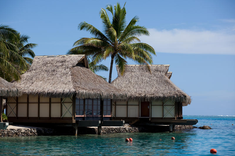 Water Bungalows, Moorea stock photography