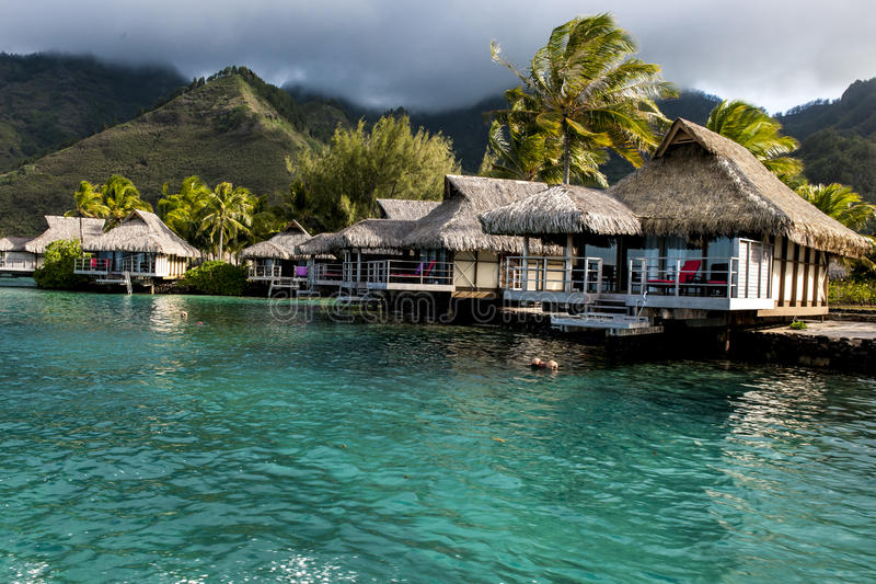 Water-bungalows in Moorea, French Polynesia stock photos