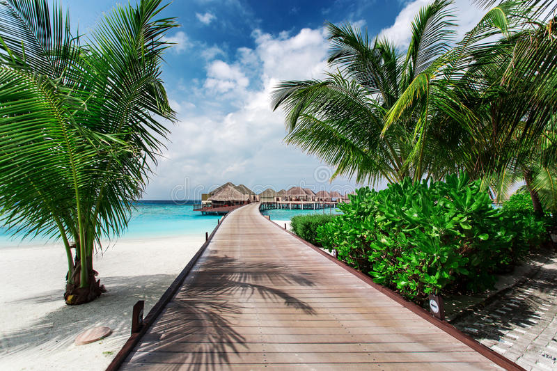Water bungalows resort at islands. Indian Ocean stock photography