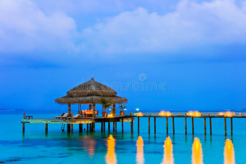 Water cafe at evening stock photography