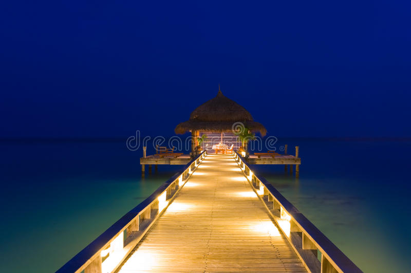 Download Water cafe at night stock photo. Image of beach, building - 15934812