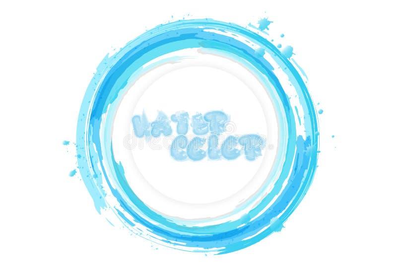Water calligraphic splash banner card, logo, watercolor design c stock illustration