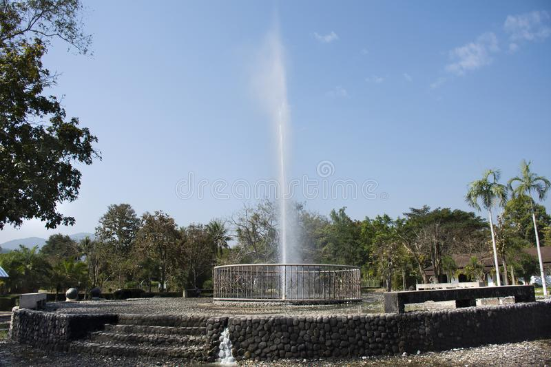 Water can gush as high as 7 meter of Pa Tueng Hot Spring at Mae Chan in Chiang Rai, Thailand. Water can gush as high as 7 meter of Pa Tueng Hot Spring in garden stock photos
