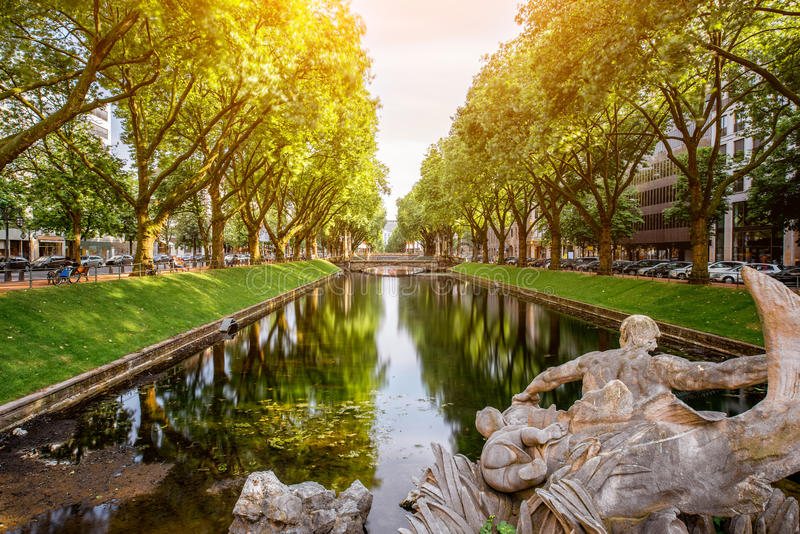 Water canal in Dusseldorf city royalty free stock image