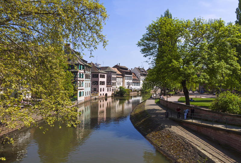 Water canal in Petite France area in Strasbourg city, France stock images
