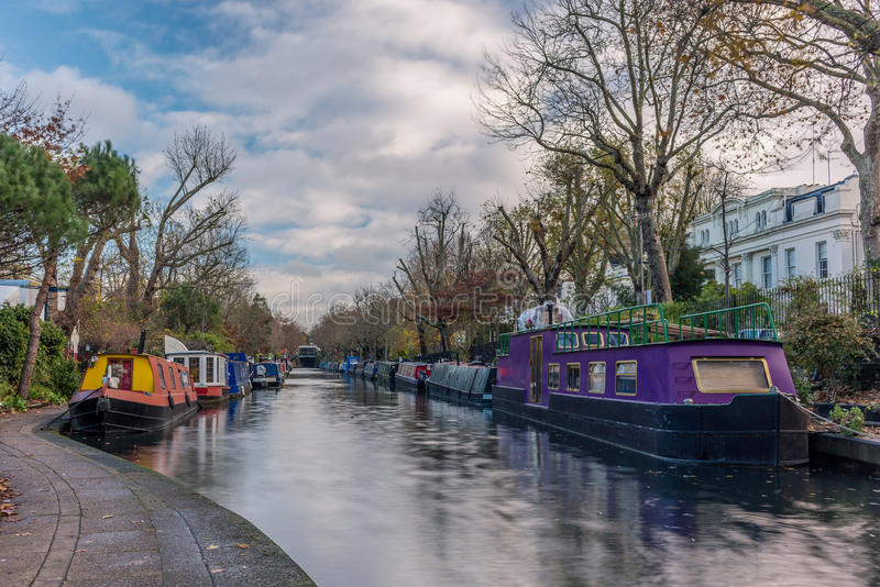 Water Canal and reflections in Little Venice in London. In Autumn stock images