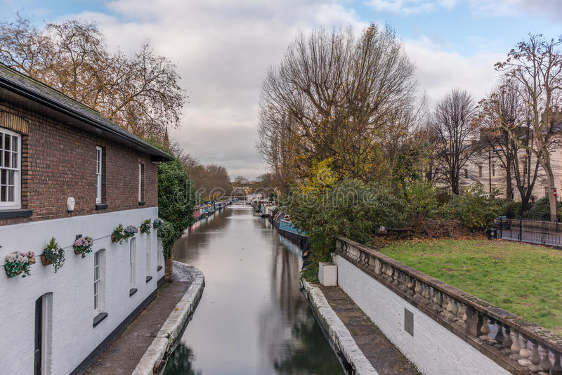Water Canal and reflections in Little Venice in London. In Autumn stock photos