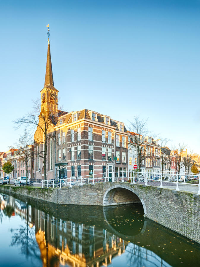 A Water Canal And A Tower In Holland Stock Photos