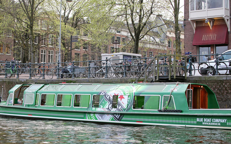 Water canal and typical architecture in Amsterdam, Netherlands royalty free stock photography