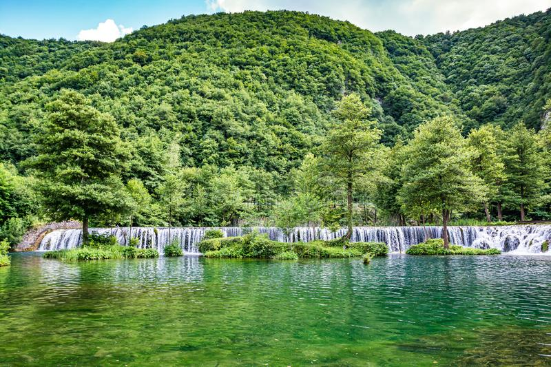 Water cascade on river Pliva near city of Jajce in Bosnia and Herzegovina.  stock images