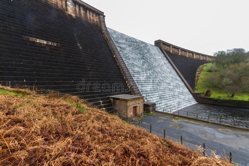 Water cascading down Avon Dam, Dartmoor stock images