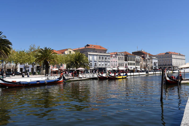 Water channel with boats in Aveiro, Beiras region,. Portugal royalty free stock image