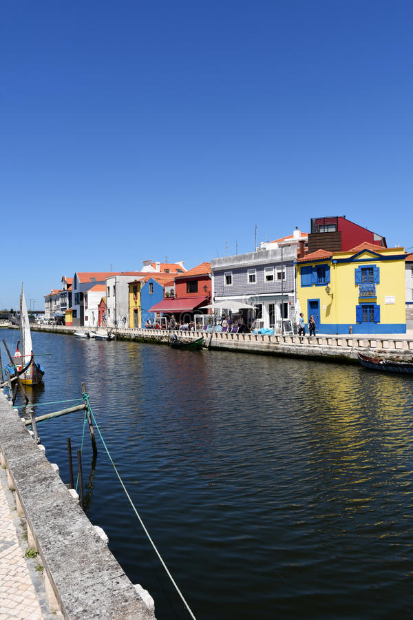 Water channel with boats in Aveiro, Beiras region,. Portugal stock photo