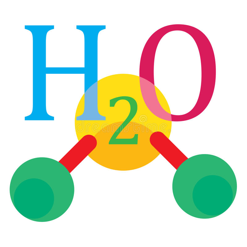 Water chemical sign. Water molecule chemical sign with hydrogen and oxygen stock illustration