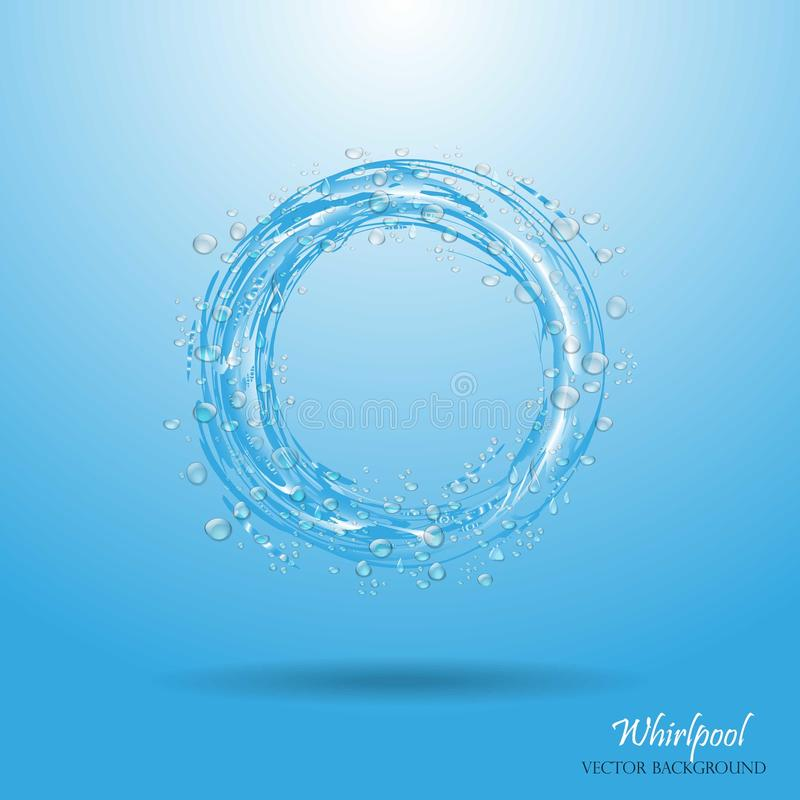 Water circle. Whirlpool, realistic water droplets. Vector illustration stock illustration
