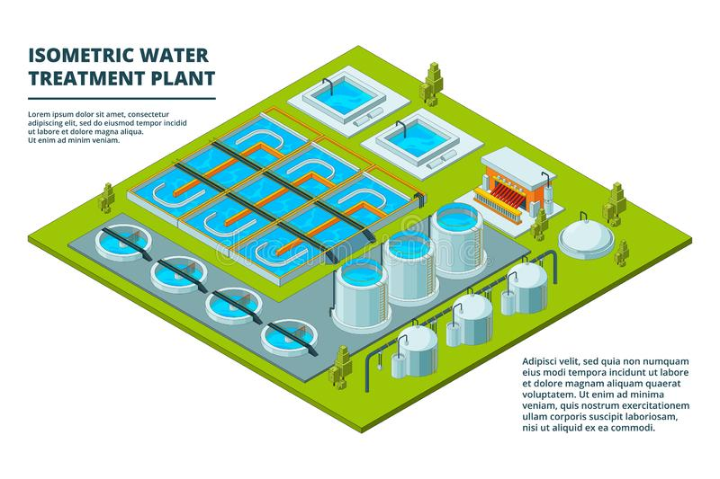 Water cleaning factory. Sewage treatment purification industry watering pipe systems and processes vector isometric royalty free illustration