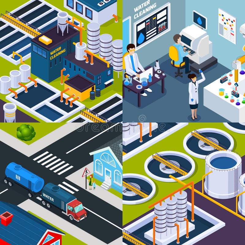 Water Cleaning Isometric Concept stock illustration