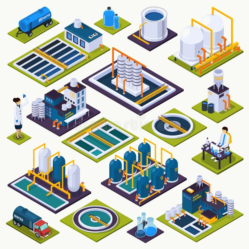 Water Cleaning Isometric Icons Set stock illustration