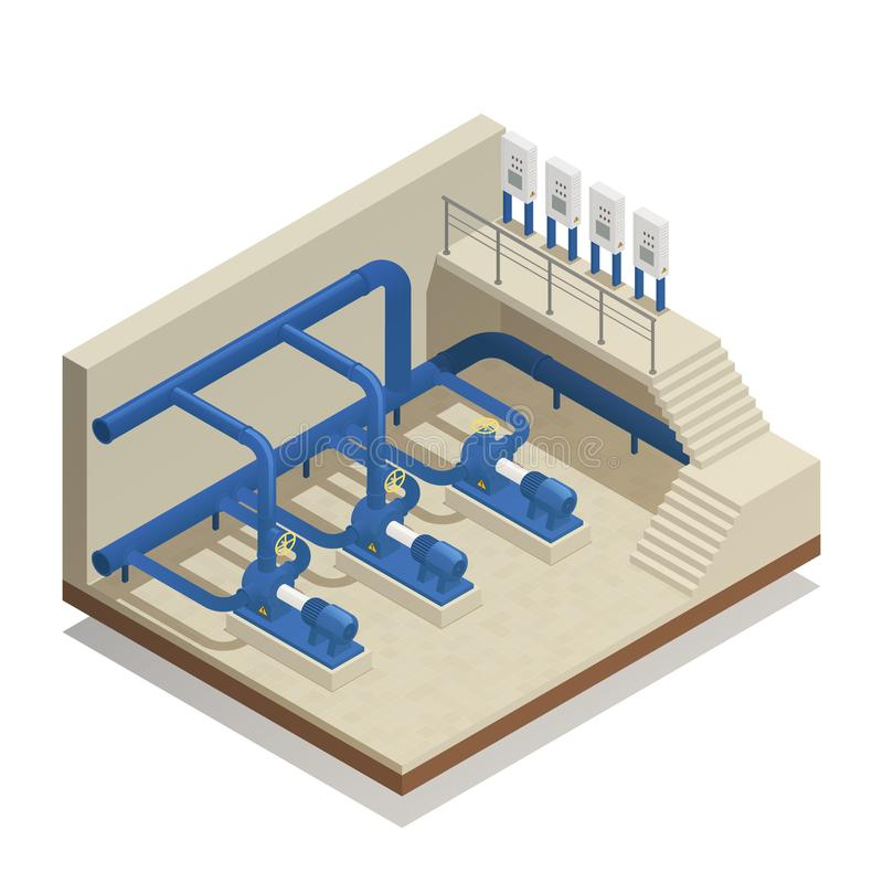 Water Cleaning System Isometric Composition stock illustration