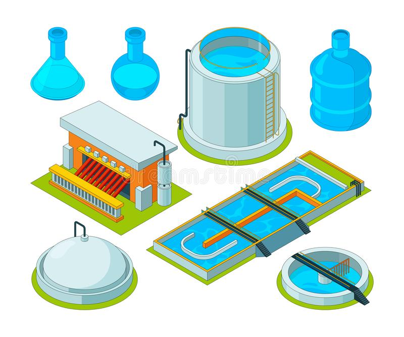 Water cleaning. Watering treatment waste separation transport chemical industrial water purification vector isometric. Pictures. Illustration of isometric royalty free illustration