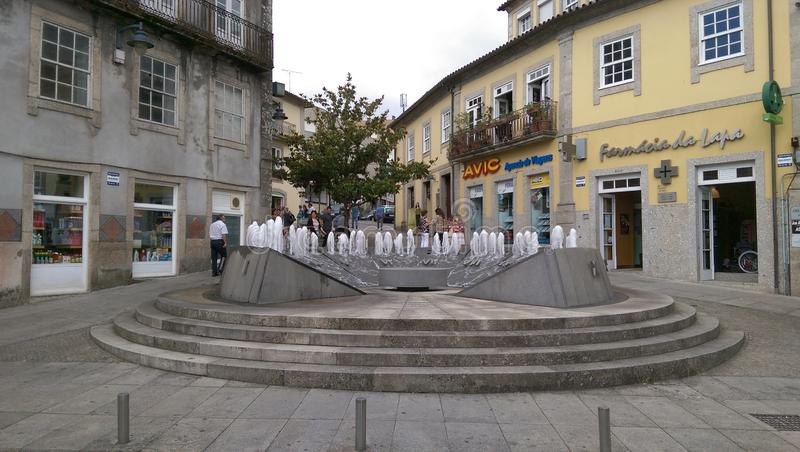 Water clock / watch fountain in the Village of Arcos de Valdevez Portugal. royalty free stock photo