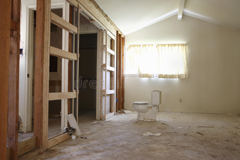 Water Closet In House Under Renovation stock images