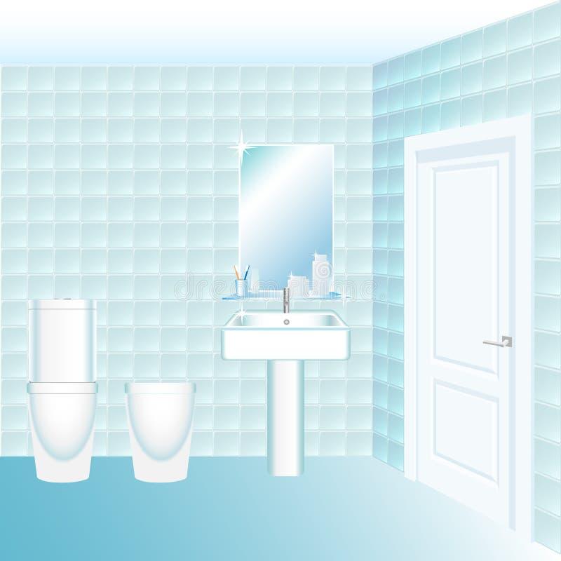 Water closet interior with lavatory pan, bidet, wash sink and mirror. Cartoon style vector illustration. Water closet interior with lavatory pan, bidet, wash vector illustration