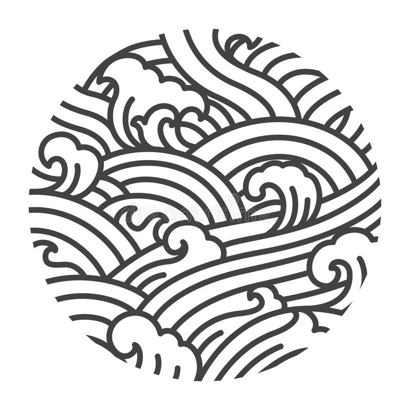 Water wave oriental style illustrate vector. Traditional line art graphic Japan. Thai. Chinese. royalty free illustration