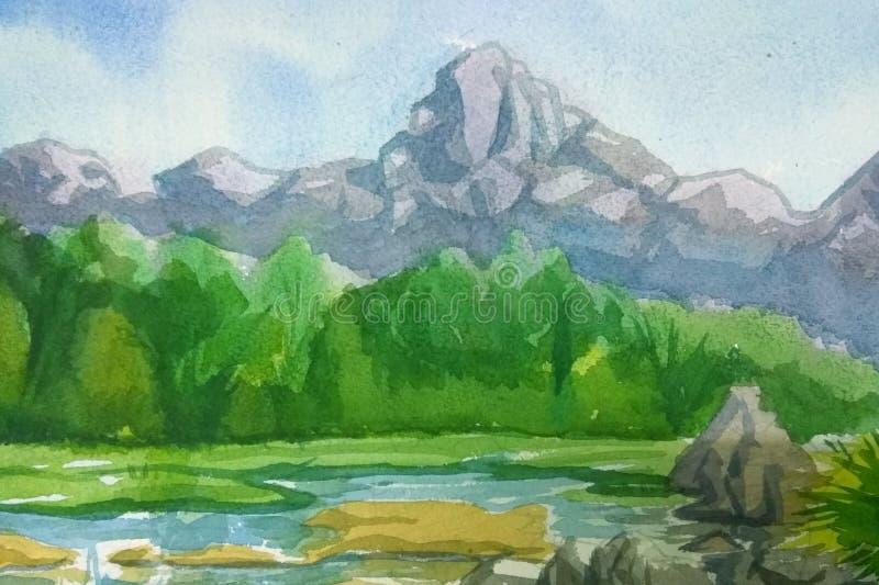 Water color landscape vector illustration