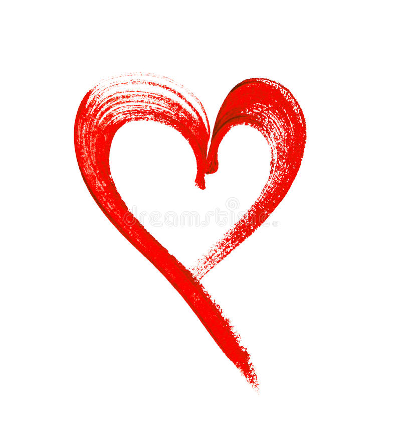 Free Water Color Painted Red Heart On White Background Stock Images - 45757304