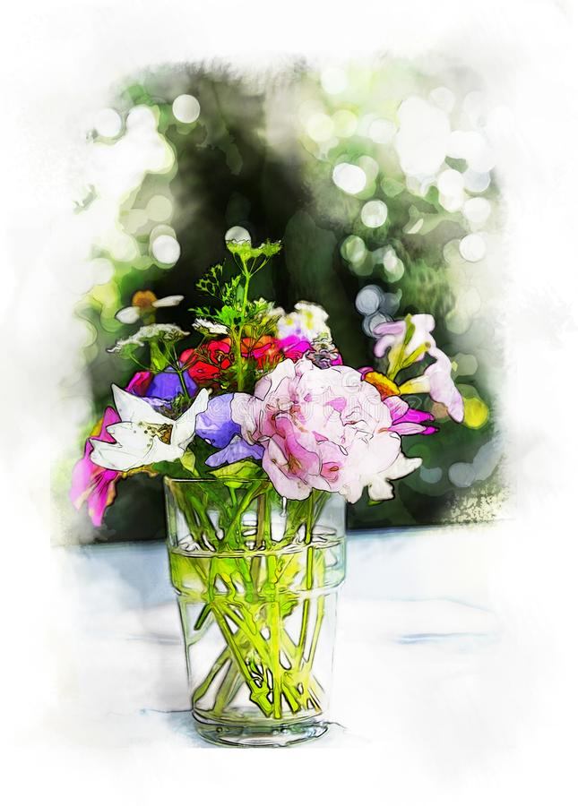 water color painting Bouquet flowers in glass vase on outdoor and bokeh background with artistic technical effect - water color stock photos