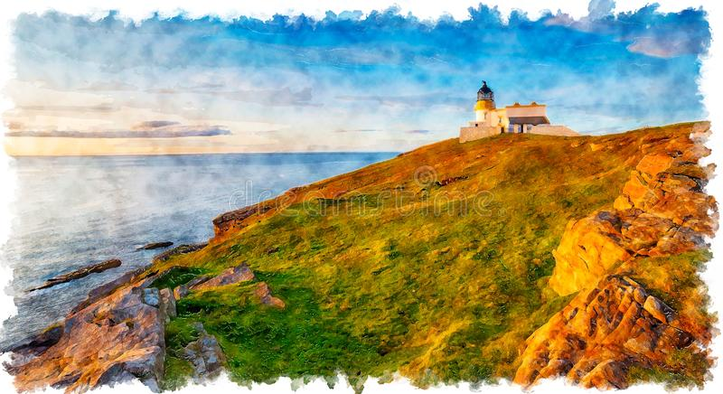 Water color painting of the lighthouse at Stoer Head stock image