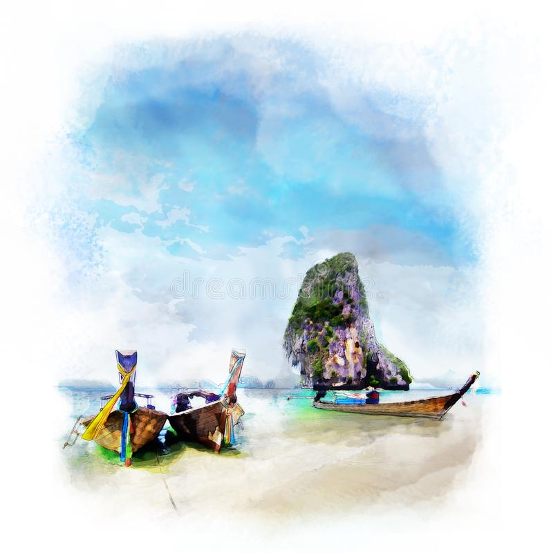 water color painting long boat on beautiful sand beach and tropical sea and blue sky on Poda island in Krabi,  Thailand with royalty free stock images